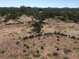 Rocks outline barrack locations at Japanese Internment camp, Gila River, AZ