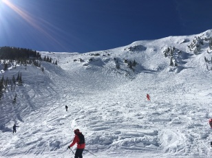 Kachina chair to the top--elevation 12,481 feet. Mainstreet run left of center, to the right of the trees.
